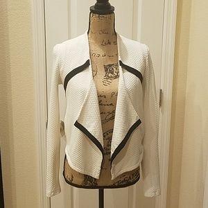 Black and white cotton textured jacket